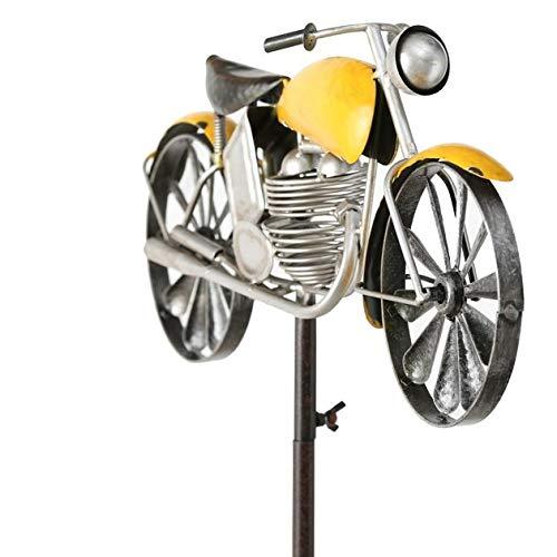 Pommerntraum ® Windspiel Windrad aus Metall Gartendekoration Gartenstecker Motorrad Chopper Moped - GELB
