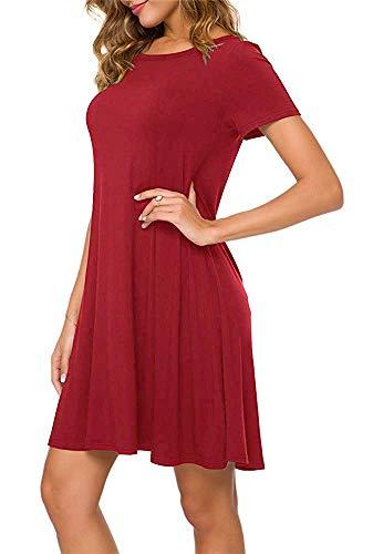 Falechay Kleid Damen Sommerkleid Tunika Freizeitkleid Atmungsaktives Rundhals Kurzarm Knielang T-Shirtkleid Rot-M
