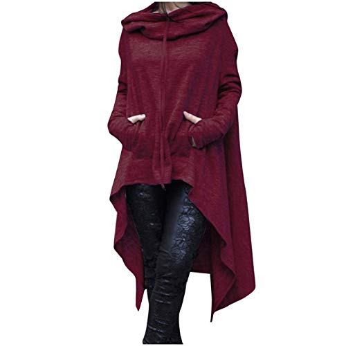 Fashion Women Casual Long Sleeve Hood Tops Solid Sweatshirt Sweater Irregular Blouse from Vanankni