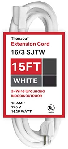 15 Ft White Extension Cord 16 3 Durable Outdoor Electrical Cable product image