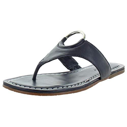 Bernardo Women's Mallory Antique Leather O-Ring T-Strap Sandals Navy Size 8