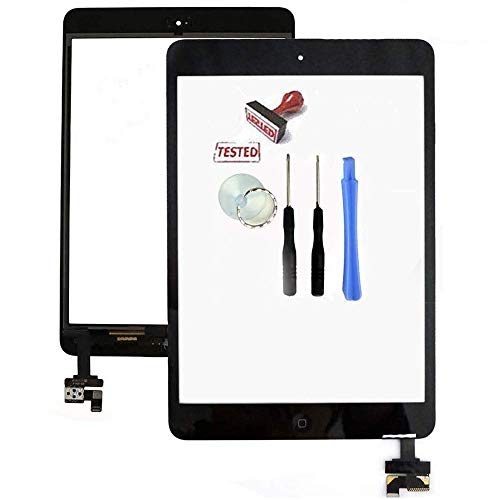 lumn iPad Mini 1 & 2 Touch Screen Replacement - Black Digitizer Front Panel Glass Comes with IC Chip, Home Button, Camera Bracket and Adhesive