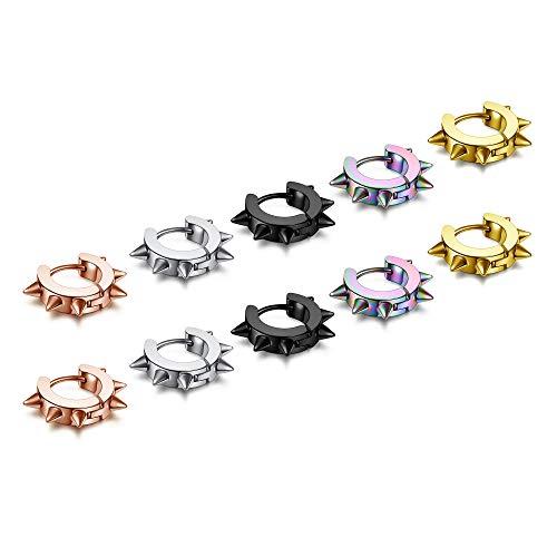 JSDDE Pack of 10 Punk Hoop Earrings Stainless Steel 0.8 mm / 20 ga Hinged Hoop Earrings Fake Plugs Nose Ring Cartilage Ear Piercing Huggie Hoop Ring Diameter 9 mm Earrings for Men and Women
