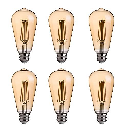 KAUTO 2200K, Bombilla LED, Vidrio Transparente, Base E27, Paquete de 4, no Regulable, Bombilla de filamento en Espiral Vintage ST58 de 4 W (Equivalente a 40 W)