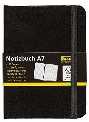 Idena 209283 - Taccuino a quadretti con segnalibro e tasca interna, formato A7, carta certificata FSC, colore: Nero