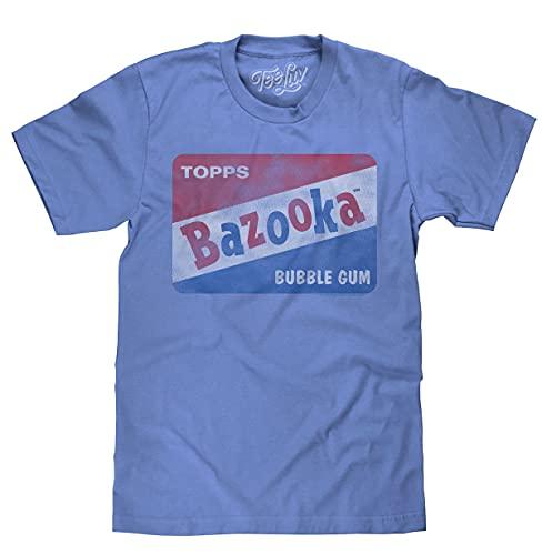 Tee Luv Bazooka Bubble Gum T-Shirt - Vintage Topps Candy Logo Shirt (Light Blue Heather) (S)