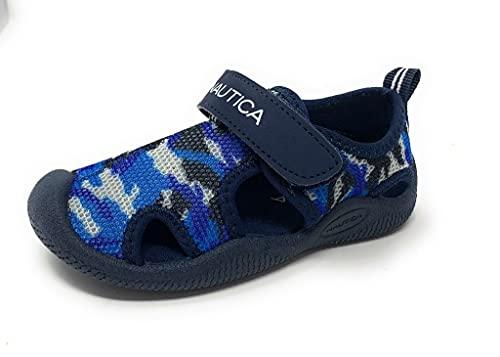 Nautica Chuteira infantil com proteção contra golfo, sandália esportiva de bico fechado   Menino - menina (jovens/criança grande/criança pequena/bebê), Malha camuflada azul, 11 Little Kid