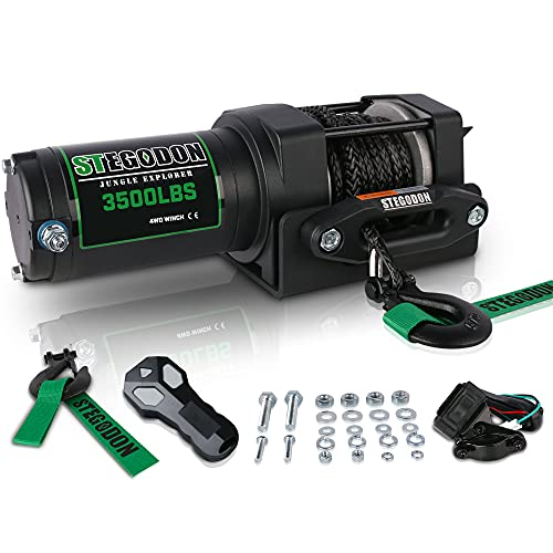 STEGODON New 3500 lb. Load Capacity Electric Winch,12V Synthetic Rope Winch with Wireless Handheld Remote and Wired Handle,Waterproof IP67 Electric Winch with Hawse Fairlead(All Black)
