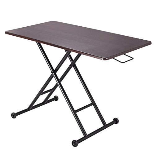 Équipement quotidien Table pliante Une table basse qui peut être soulevée et abaissée Table basse modulaire Table télescopique Mini table basse Bureau d'ordinateur Table Tatami Marron (Couleur: MAR