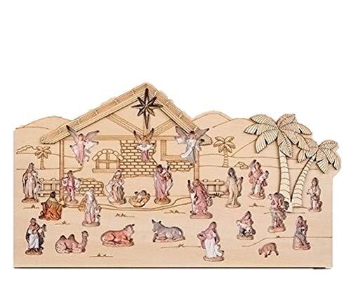 Fontanini 2019 Reusable Wood Nativity Scene Countdown Advent Calendar, 14 Inch