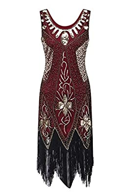 Women's 1920s Vintage Flapper Beaded Sequin Art Deco Fringed Great Gatsby Party Dress