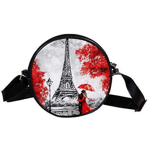 Bandolera redonda pequeña bolsa de mano para mujer, bolsa de mensajero de lona, bolsa de cintura, accesorios para mujer, diseño retro de la Torre Eiffel de París