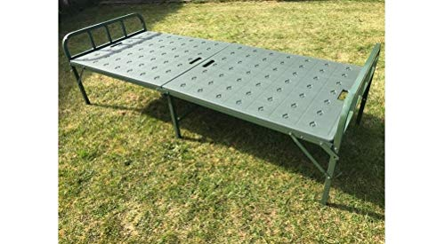 NEW HEAVY DUTY STURDY ARMY HOSPITAL FOLDING PORTABLE SINGLE BED GARDEN MANJA CAMPING INDOOR FURNITURE STEEL PIPING (Green (CZ-200))