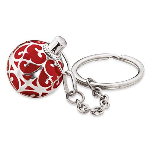 Engelsrufer Classic Schlüsselanhänger für Damen mit roter Klangkugel rhodiniertes 925er-Sterlingsilber Größe 25 mm