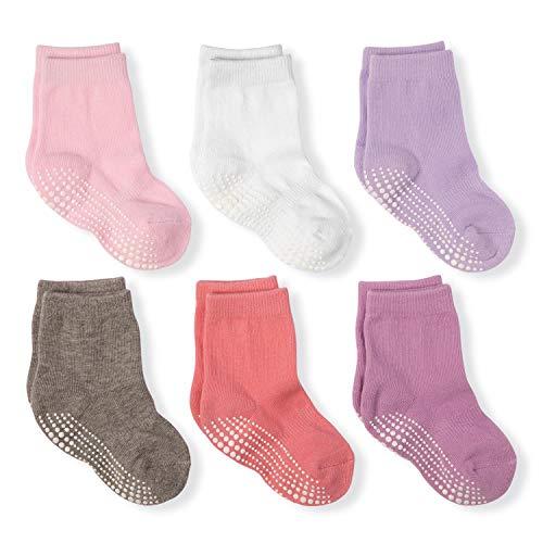 LA Active Calcetines Deportivos Antideslizantes - 6 Pares - Bebé Niño Pequeño Infante Recién Nacido Chicos Chicas Anti Deslizante/Patinazos (Niñas, 6-12 Meses)