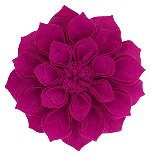 Fennco Styles Handmade 3D Heart-Shaped Petals Flower Decorative Throw Pillow Cover 13 Inch Round - Magenta Floral Pillow Case for Couch, Home Décor, Bedroom Décor and Holiday, Housewarming Gift