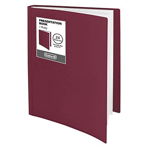 """Dunwell Binder with Plastic Sleeves - (Ruby, 1 Pack), 24-Pocket Bound Presentation Book with Clear Sleeves, Sheet Protector Binder Displays 48 Pages of 8.5x11"""" Insert, Portfolio Display Book"""
