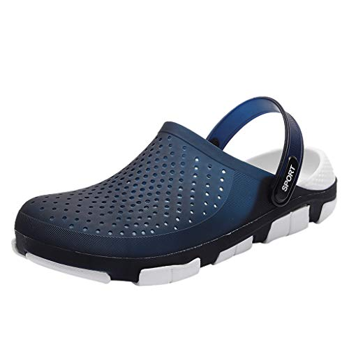 Clogs Pantoletten Schuhe Männer Casual Flat Durable Light Weight Atmungsaktive Löcher Slippers Beach Hole (44 EU,Blau)