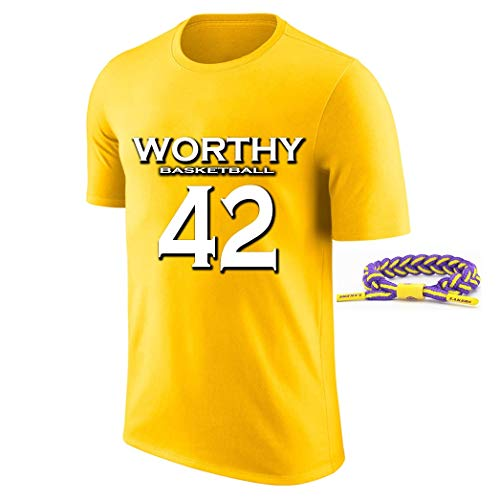 YUUY Camiseta de Manga Corta Transpirable para Hombres James Worthy # 42 Lakers Baloncesto Jersey, Multi-Color Opcional, Unisex (Color : Amarillo, Size : Medium)