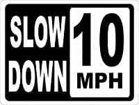 スローダウン10 MPHブリキ看板ヴィンテージ錫のサイン警告注意サインートポスター安全標識警告装飾金属安全サイン面白いの個性情報サイン金属板鉄の絵表示パネル