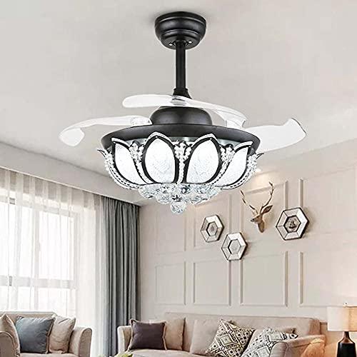 Cuchillas retráctiles modernas con ventiladores de techo de cristal con luz reversible con luz y luz de ventilador reversible para sala de estar sala de estar de sala de estudio dormitorio