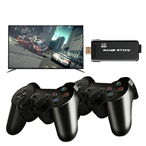YTFU USB Wireless Console Game Stick,2.4G Wireless Gamepad HDMI Output Dual Player Built in 3000/10000 Classic Game,Mini Retro Controller Video Game Console for PC Phones Tablets TV