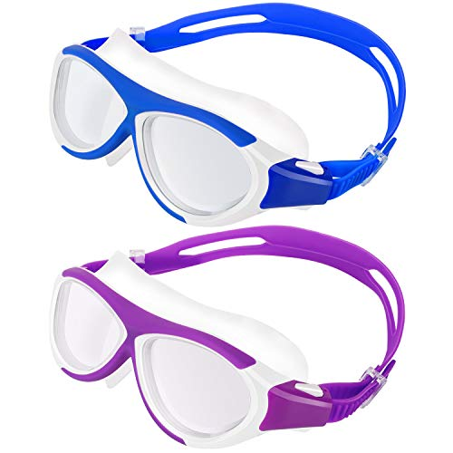 MoKo 2 Pezzi Occhialini da Nuoto per Bambini, Occhiali di Nuoto con Cornice in Silicone Morbido Anti-Appannamento Lenti Protezione UV Accessori Nuoto Swim Glasses Nuoto per Bambini - Viola + Indigo