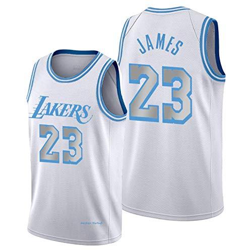 ZCGS Lebron James Jersey para hombre, Lakers 23 # Baloncesto Jersey Blanco 2021 New City Edition Jerseys Youth Swingman T-Shirt Tank Top (S-XXL)