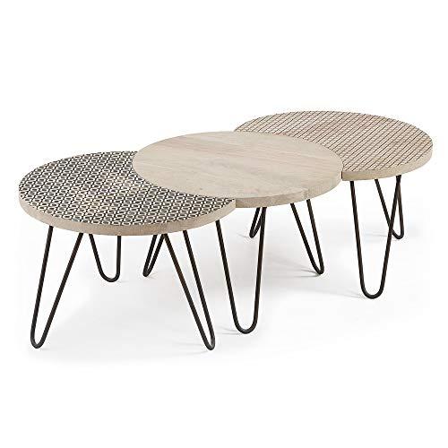Kave Home - Set de 3 mesas de Centro Houp Oval 134 x 39,5 cm de Madera Maciza de Mango y Patas de Acero en Negro