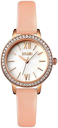 Relojes para Mujeres de Lujo analógico para Mujer Redacción Red Rhinestone Casual Quartz Dames Reloj de Pulsera Banda de Cuero (Color : Pink)