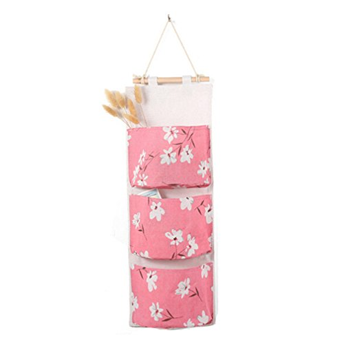 Toporchid Hängeorganizer Wand Aufbewahrungstasche 3 Tasche Rosa Blume Hanging Storage Bag