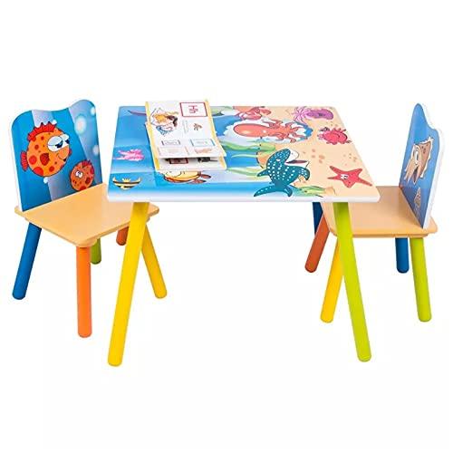 Mesa de escritorio de madera para niños con 2 sillas taburetes para niños en edad preescolar y niñas estudiando pintura en casa escuela