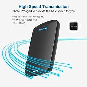 Inateck USB 3.0 Carcasa para Disco Duro para 9.5mm 7mm SATA HDD SSD, 2,5 Pulgadas, UASP y SATAIII Compatible Color Negro