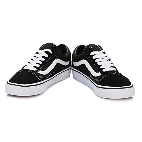 Vans Old Skool Leather Sneaker Unisex Adulto, Nero (Black/White), 42