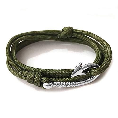 WDAIJY Damen Armband,Grün Silber Haken Mann Anker Armband Armreif Pulsera Design Handgefertigte Weave Polyester Material Armband Für Frau