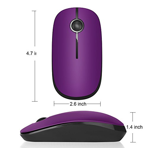 Jelly Comb 2.4G Slim Wireless Mouse with Nano Receiver, Less Noise, Portable Mobile Optical Mice for Notebook, PC, Laptop, Computer, Macbook - Black and Purple