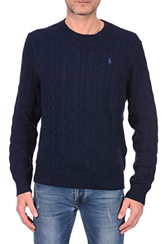 POLO RALPH LAUREN MEN'S CABLE-KNIT COTTON SWEATER, NAVY BLUE, XXL
