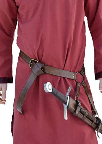 Battle-Merchant Mittelalter Schwertgürtel aus braunem Leder - Mittelalter Schwerthalter mit Gürtel