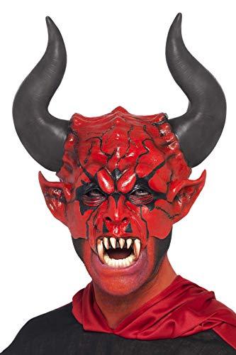 Smiffys herenmasker, duivel, halfmasker, one-size, rood, 38860