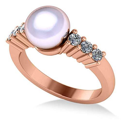 Anillo de compromiso con perlas y diamantes acentuado 14k Oro rosa 8mm (0.30ct), anillo de compromiso de oro para siempre, anillo de bodas, anillo de oro de la promesa