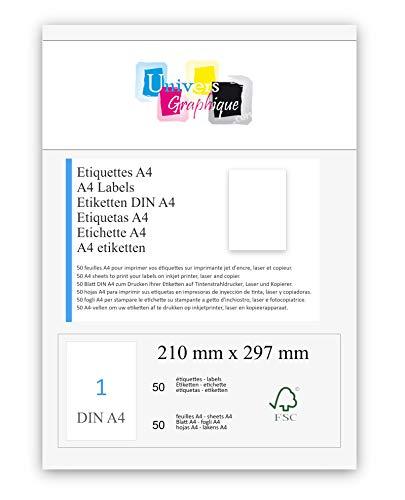 50 feuilles A4 papier adhésif blanc - Étiquette autocollante 210 x 297 mm - planche adhésive permanente marque UNIVERS GRAPHIQUE- UGEA4 FACTURE AVEC TVA DÉDUCTIBLE