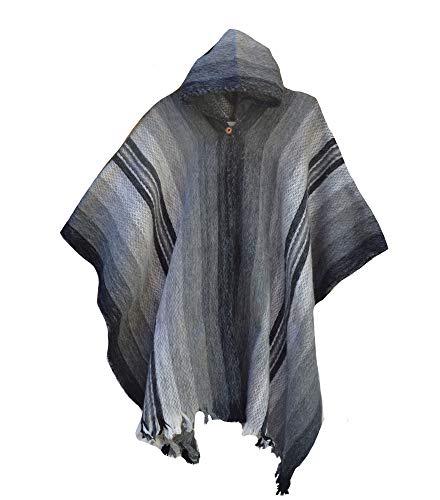 Wigwam Poncho aus 100 % Wolle, in Südamerika, handgefertigt grau Einheitsgröße