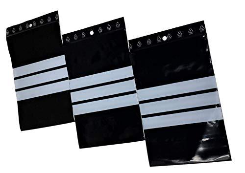 100 Sachet zip noir 60 x 80 mm 6 X 8 cm Sachets zip opaque résistant UV 60 μ 3 bande de marquage blanche zip écriture sachet plastique anti UV lumière sachet compatible alimentaire congélation