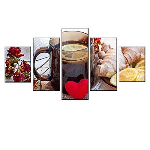 Zqylg Nuevo 5 piezas fruta jengibre té de limón cartel HD impresión lienzo pintura para cocina arte de la pared imagen restaurante familiar decorativo 30x40 30x60 30x80 sin marco