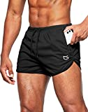 G Gradual Men's Running Shorts 3 Inch Quick Dry Gym Athletic Workout Short Shorts for Men with Liner and Zipper Pockets Black