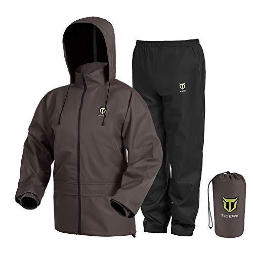 TideWe Rain Suit, Waterproof Breathable Lightweight 2 Pieces Rainwear (Brown Size S)