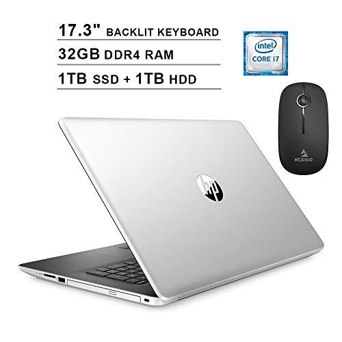 2020 HP Pavilion 17.3 Inch Laptop (Intel 4-Core i7-8565U up to 4.6 GHz, 32GB DDR4 RAM, 1TB SSD (Boot) + 1TB HDD, Backlit KB, Bluetooth, DVD, Windows 10) (Silver) + NexiGo Wireless Mouse Bundle