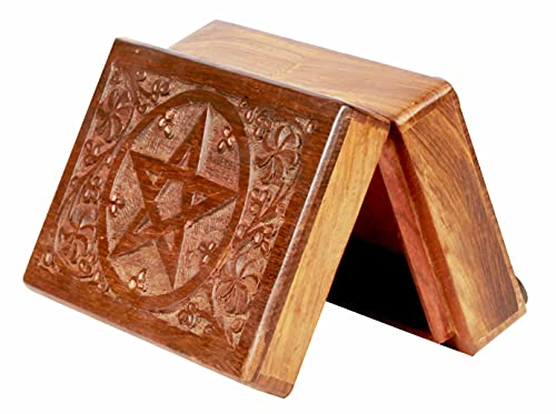 ARTISENIA Hand Engraved Rosewood Tarot Card Storage Box with Engraved Pentagram Star