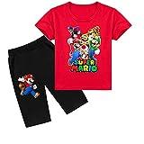 Camiseta de Super Mario Bros Pantalones Cortos Traje niños Estampado Tshirt, Ropa Verano Manga Corta Conjunto de 2 Piezas niños niñas