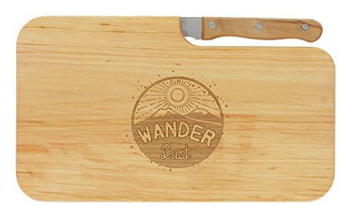 meinbecher Brotzeitbrett Jausenbrett Holz Erle Messer Wanderlust Geschenk Wanderer Männer Frauen Schneidbrett Holz Geschenkidee für Ihn und Sie